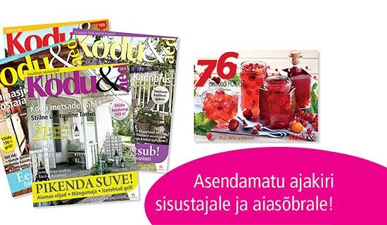 c2fbee0c822 Eesti suurima sisustus- ja aiandusajakirja Kodu & Aed 4 kuu tellimus +  kokaraamat -40%   Chilli.ee