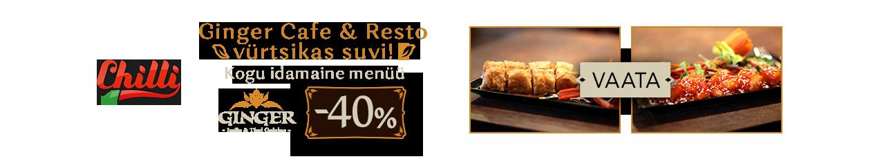 Ginger Cafe & Resto vürtsikas suvi! Kogu idamaine menüü -40%